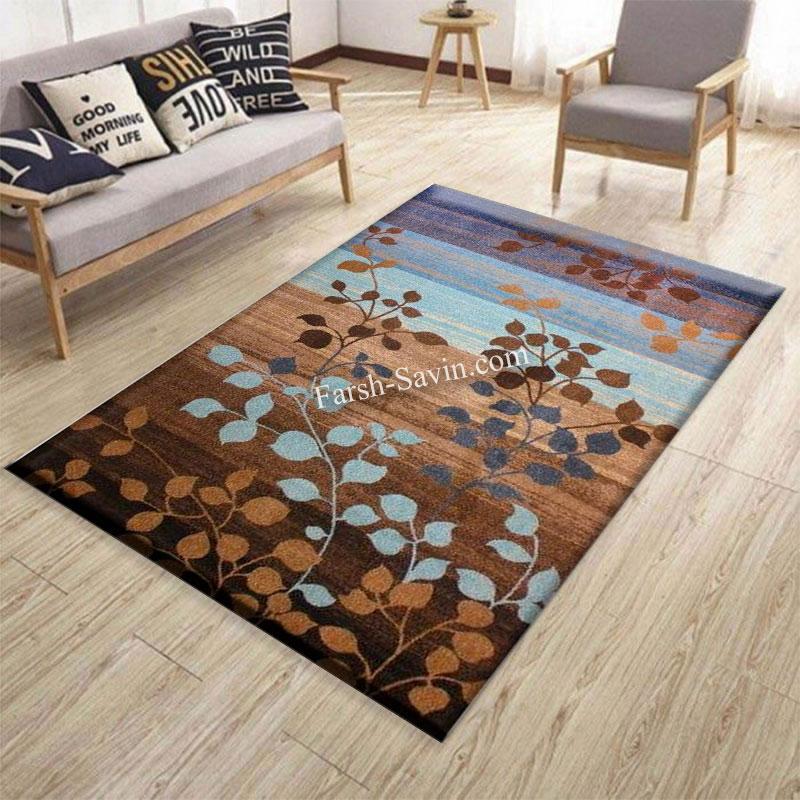 فرش ساوین 4001 شکلاتی فرش مناسب اتاق خواب