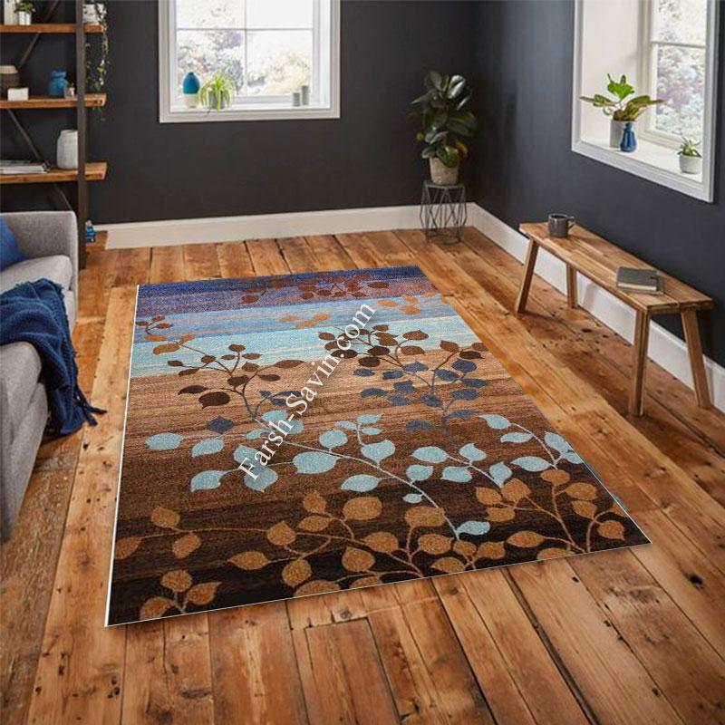 فرش ساوین 4001 شکلاتی فرش ارزان