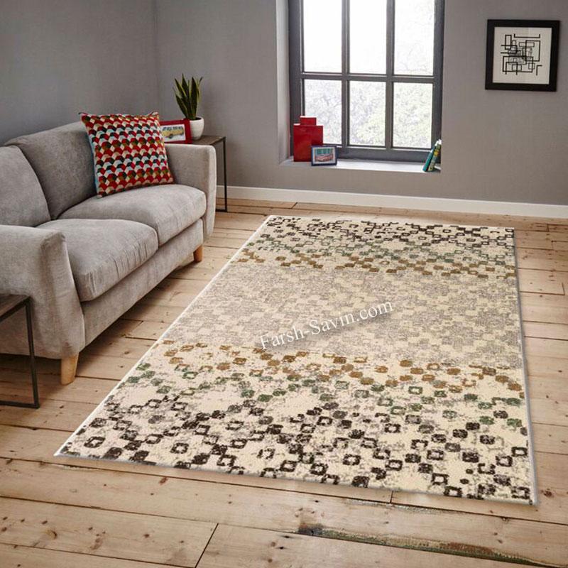 فرش ساوین 4005 کرم فرش اتاق خواب