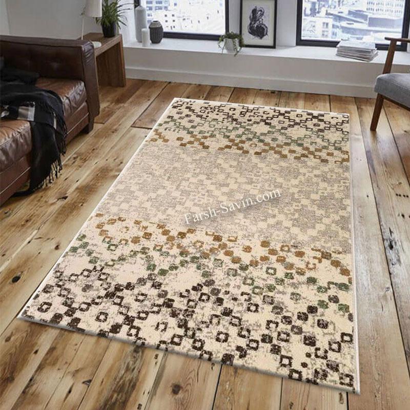 فرش ساوین 4005 کرم فرش مدرن