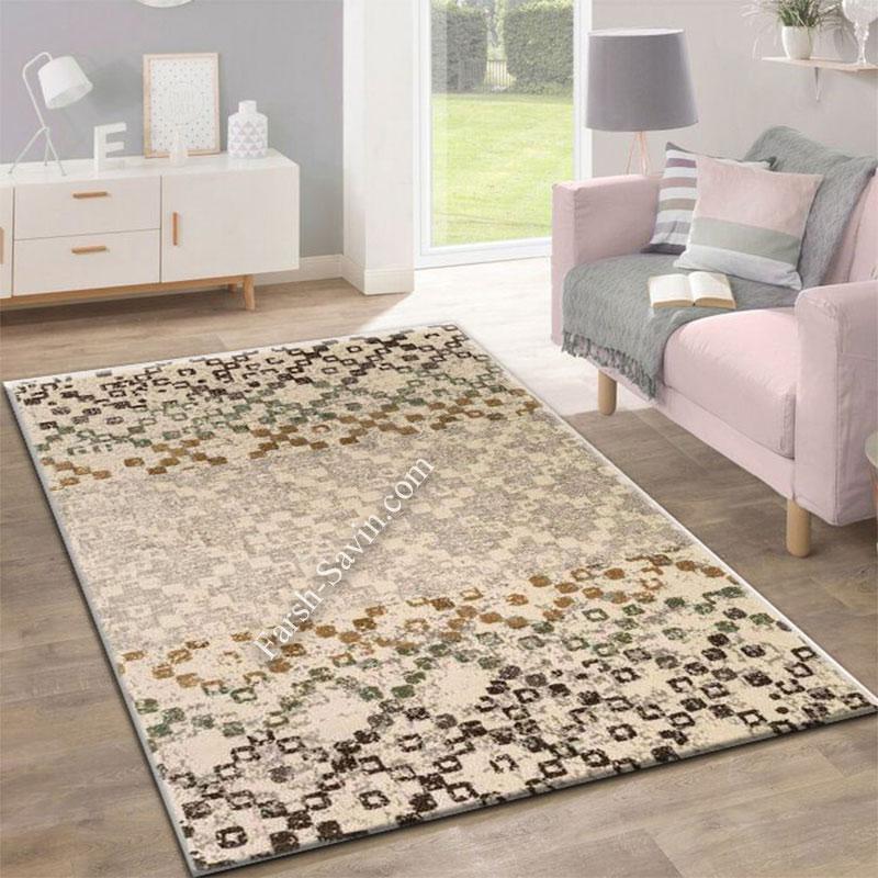 فرش ساوین 4005 کرم فرش زیبا