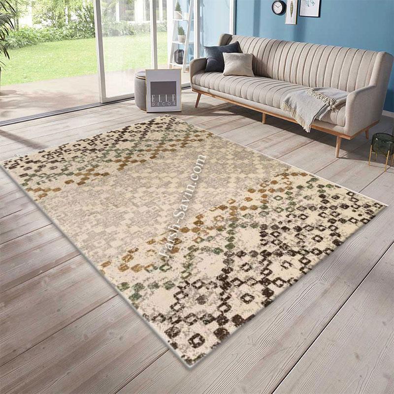 فرش ساوین 4005 کرم فرش خاص و شیک