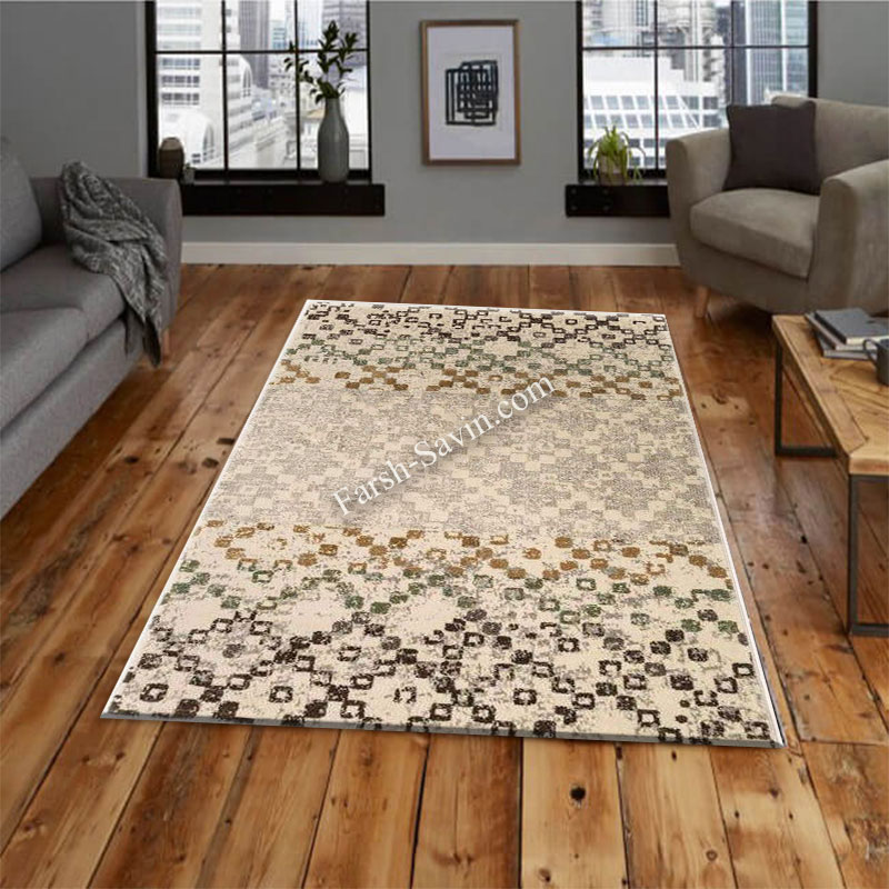 فرش ساوین 4005 کرم فرش جذاب