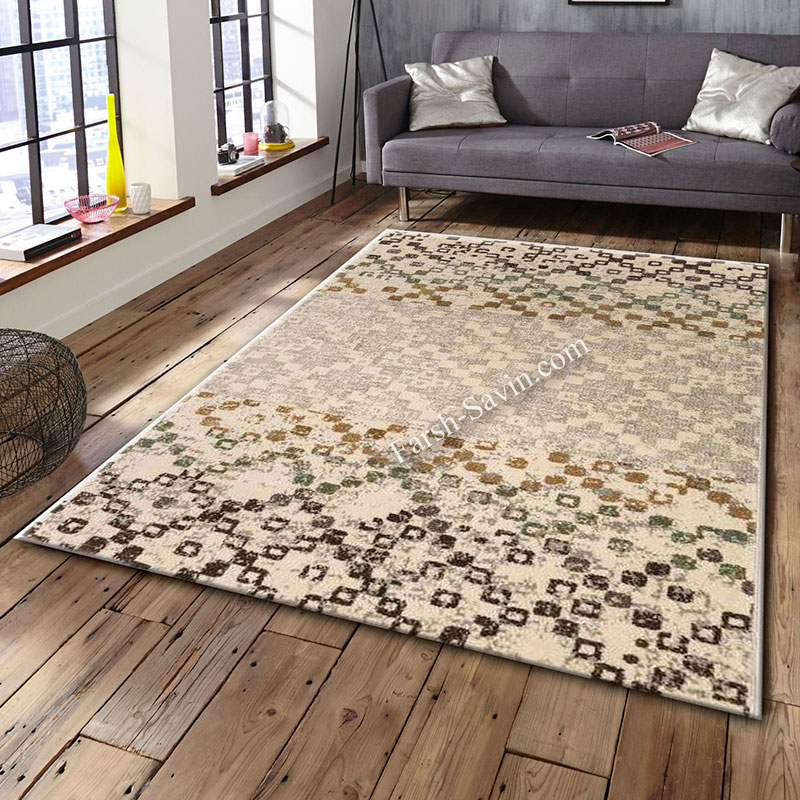 فرش ساوین 4005 کرم فرش اتاق پذیرایی