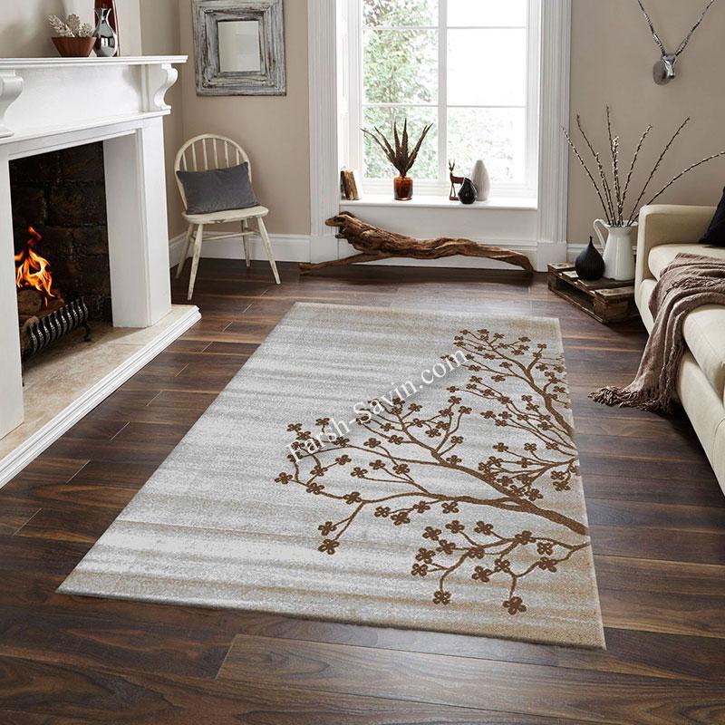 فرش ساوین 4006 نقره ای فرش اصیل ایرانی