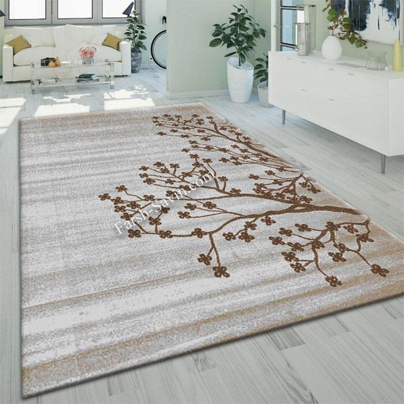 فرش ساوین 4006 نقره ای فرش فانتزی و مدرن