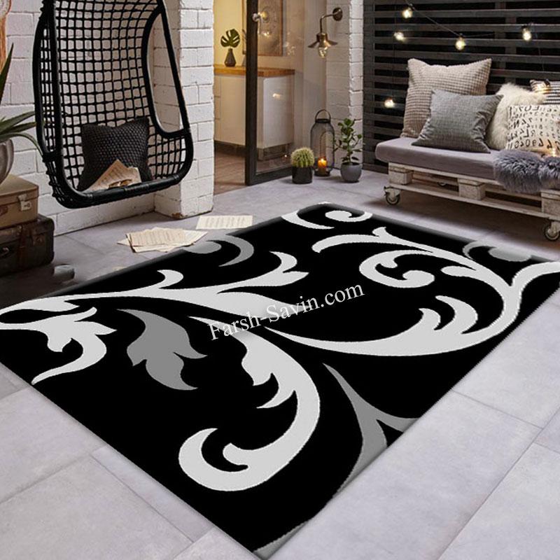 فرش ساوین 4009 مشکی فرش مناسب اتاق خواب
