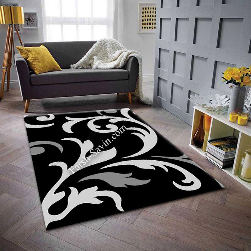 فرش ساوین 4009 مشکی فرش جذاب