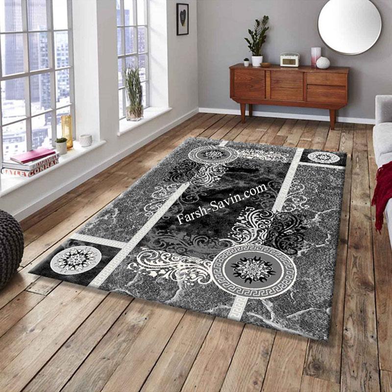 فرش ساوین 4010 مشکی فرش پر فروش