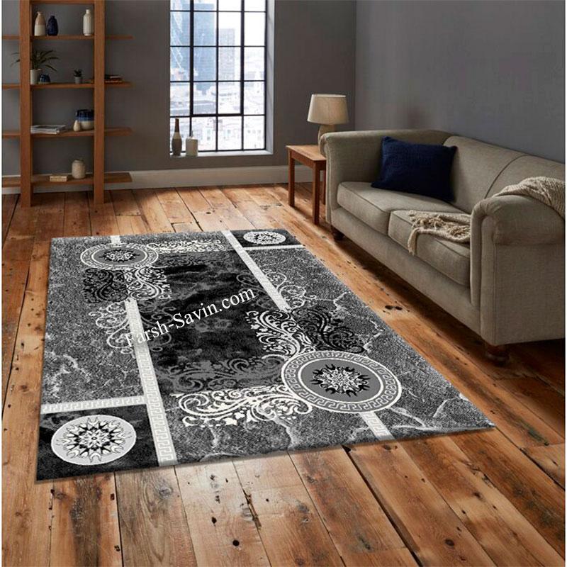 فرش ساوین 4010 مشکی فرش اتاق خواب