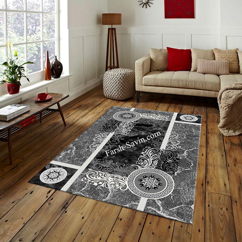 فرش ساوین 4010 مشکی فرش زیبا