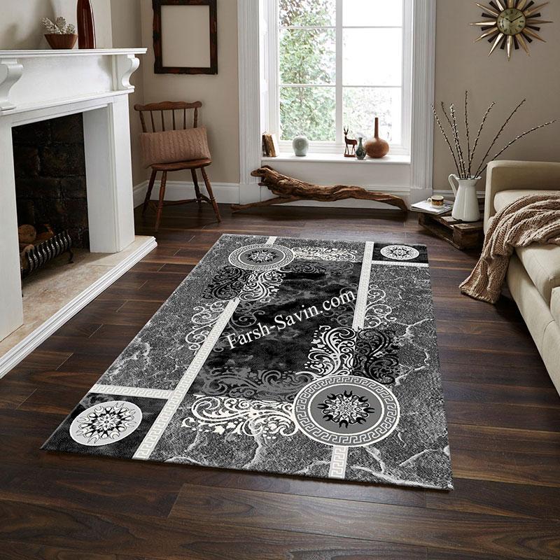 فرش ساوین 4010 مشکی فرش شیک