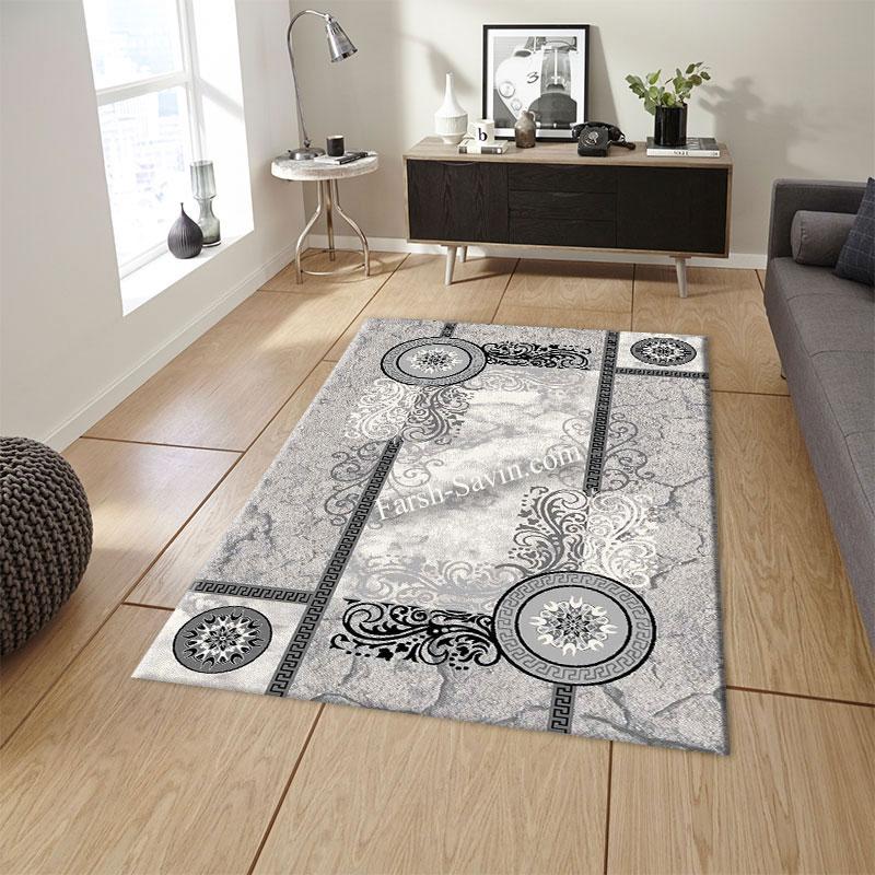 فرش ساوین 4010 نقره ای فرش اتاق پذیرایی