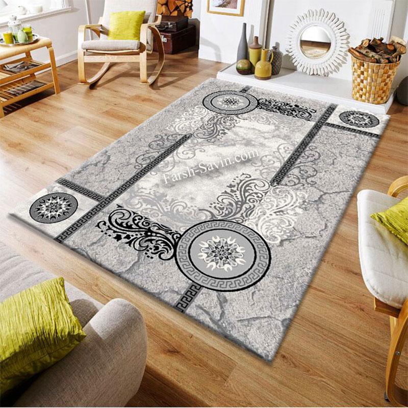 فرش ساوین 4010 نقره ای فرش مناسب اتاق خواب