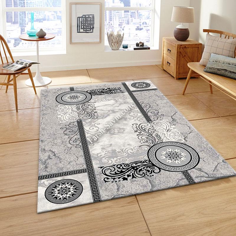 فرش ساوین 4010 نقره ای فرش پر فروش