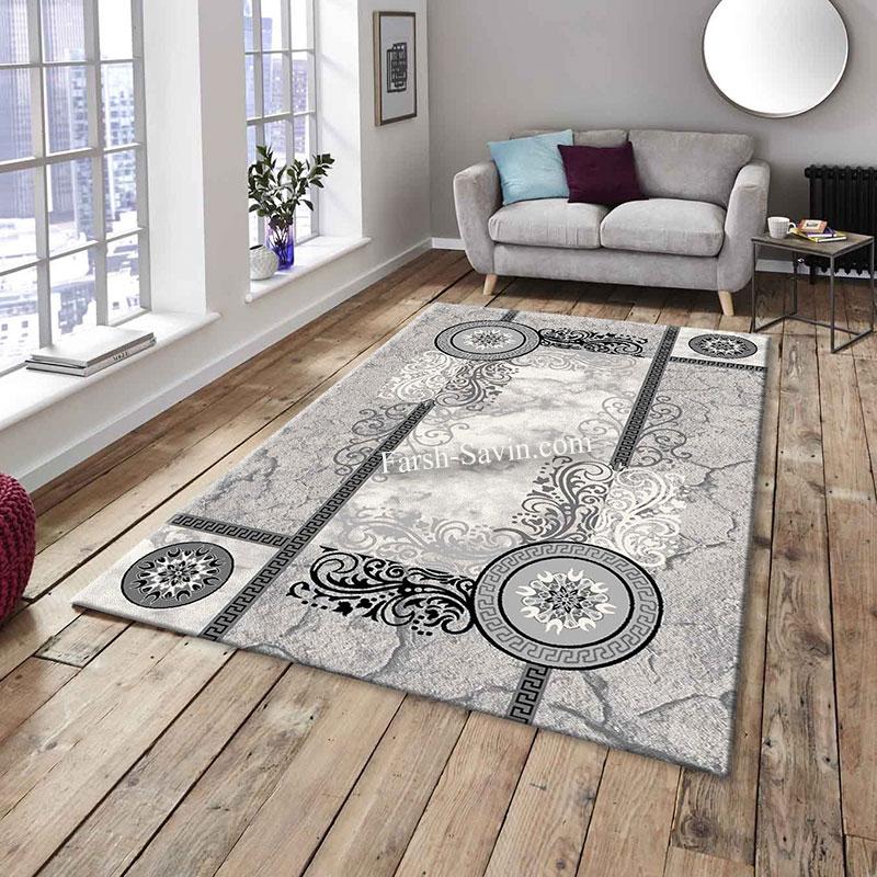 فرش ساوین 4010 نقره ای فرش ارزان