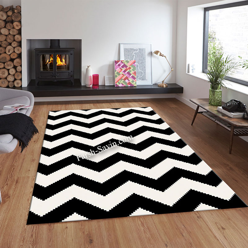 فرش ساوین 4019 سفیدمشکی فرش اتاق خواب