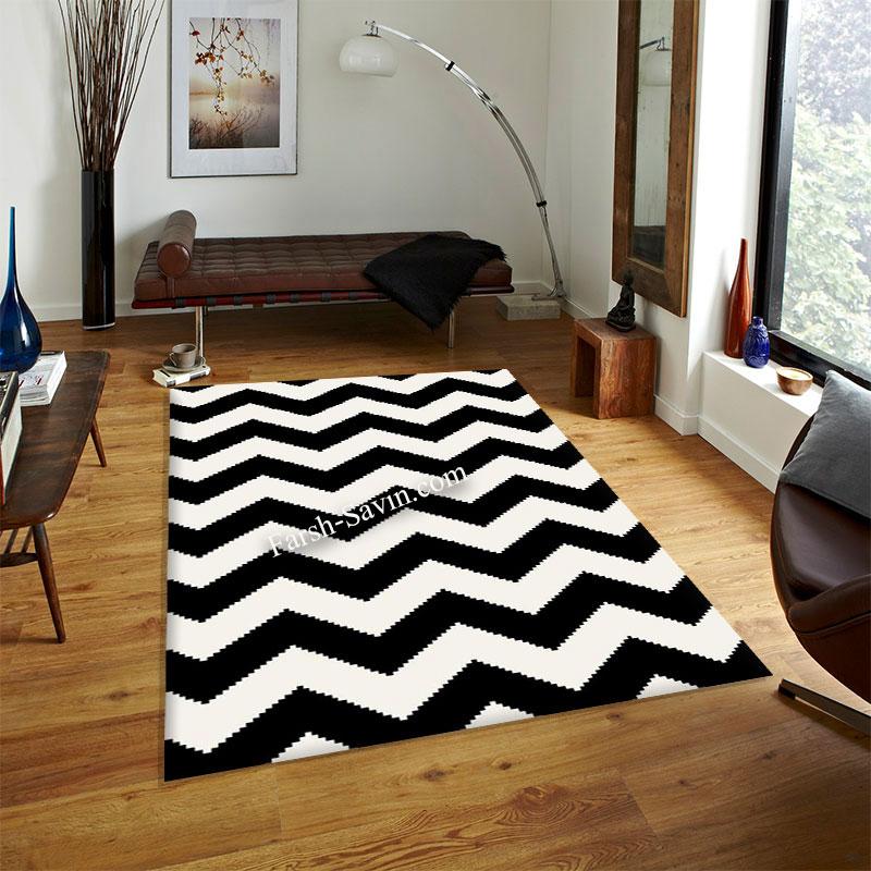 فرش ساوین 4019 سفیدمشکی فرش مناسب اتاق پذیرایی