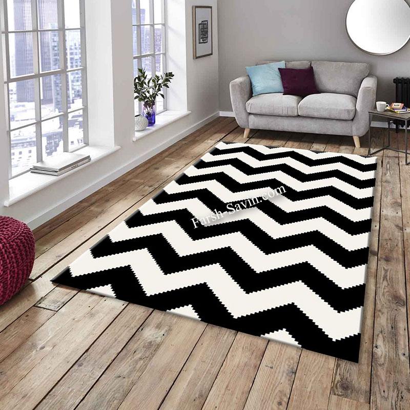 فرش ساوین 4019 سفیدمشکی فرش پر فروش