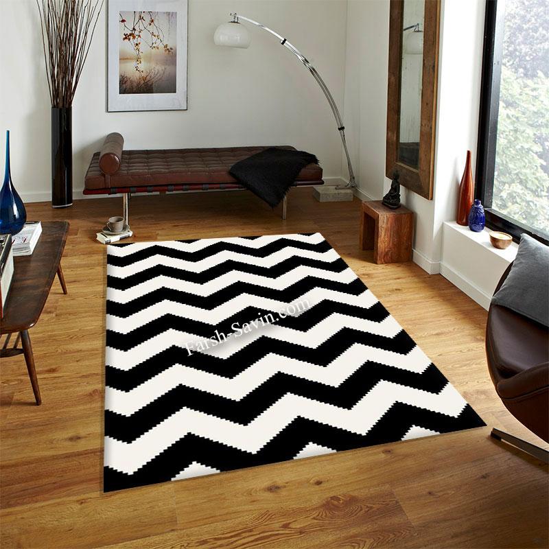 فرش ساوین 4019 سفیدمشکی فرش با کیفیت