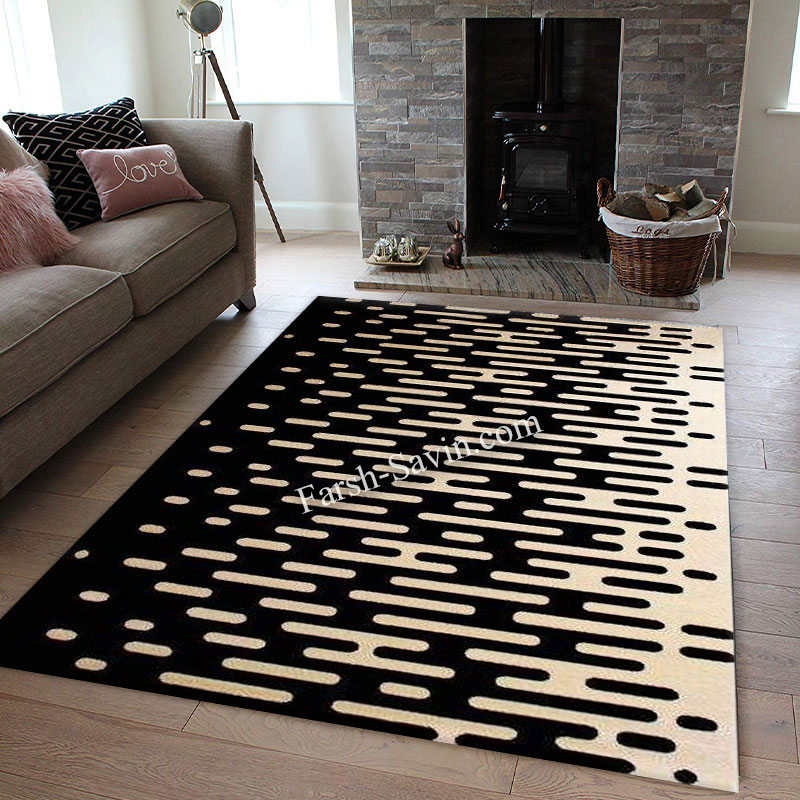 فرش ساوین 4020 مشکی فرش زیباو خاص
