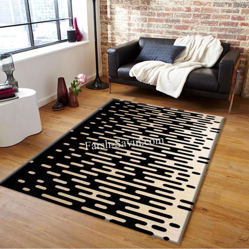 فرش ساوین 4020 مشکی فرش با کیفیت