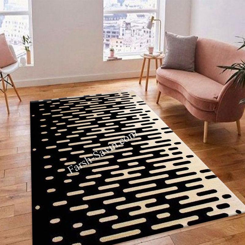 فرش ساوین 4020 مشکی فرش ارزان
