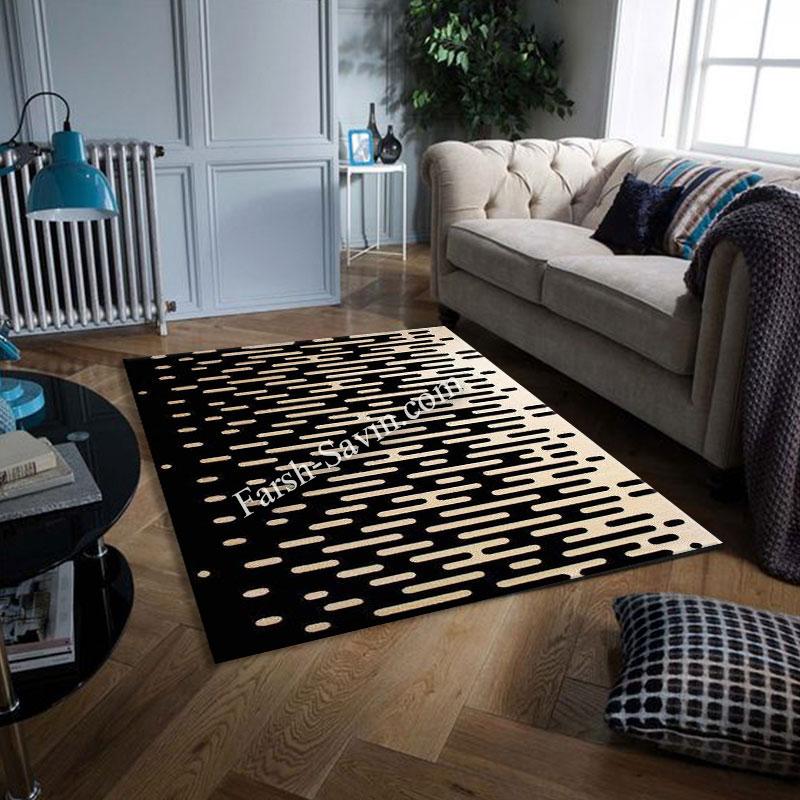 فرش ساوین 4020 مشکی فرش مناسب اتاق پذیرایی