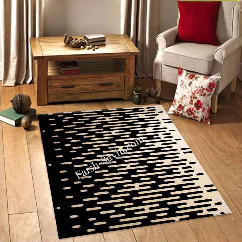 فرش ساوین 4020 مشکی فرش مناسب اتاق خواب