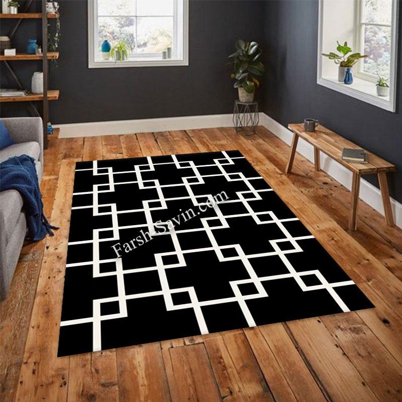 فرش ساوین 4023 مشکی فرش آشپزخانه