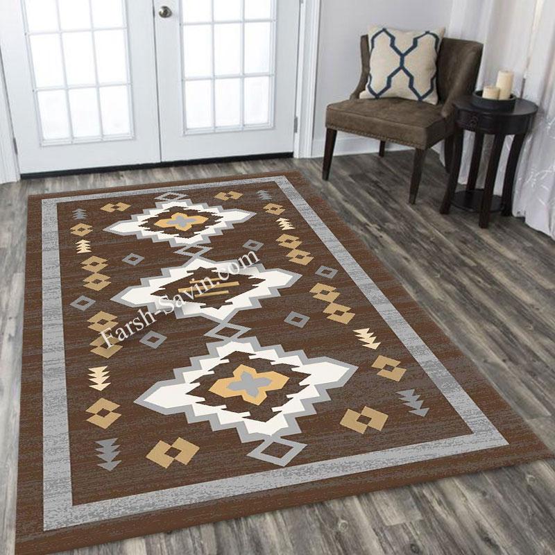 فرش ساوین 4032 نسکافه ای فرش با کیفیت
