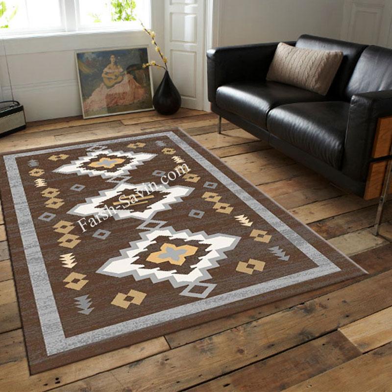 فرش ساوین 4032 نسکافه ای فرش ارزان