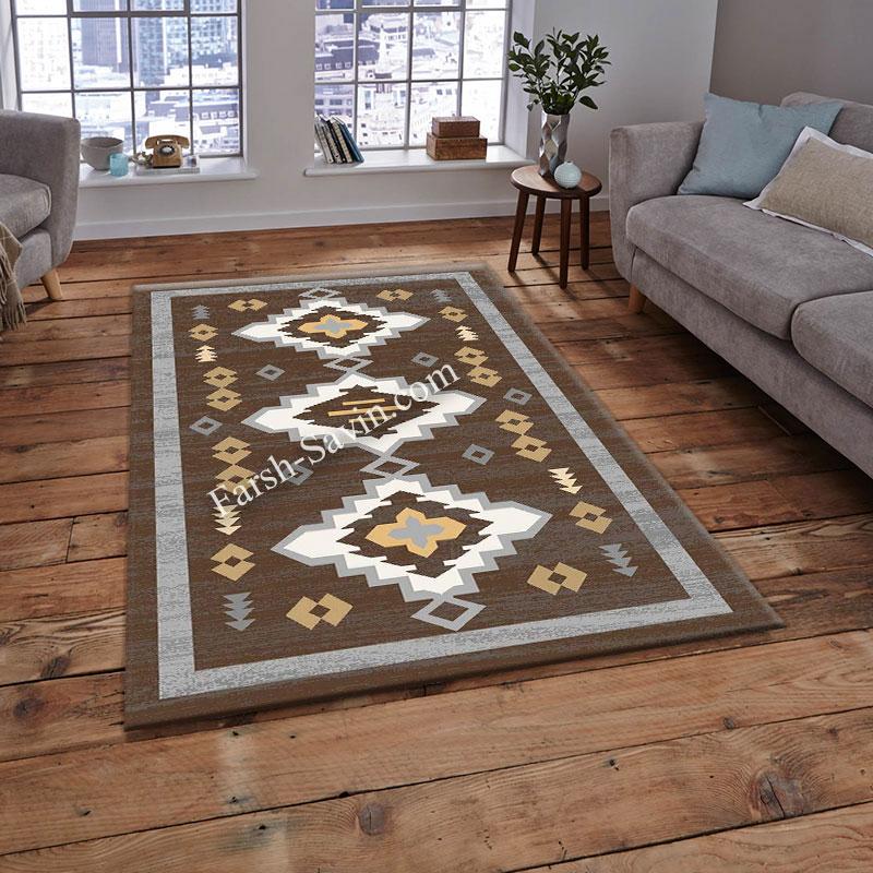 فرش ساوین 4032 نسکافه ای فرش مناسب اتاق پذیرایی