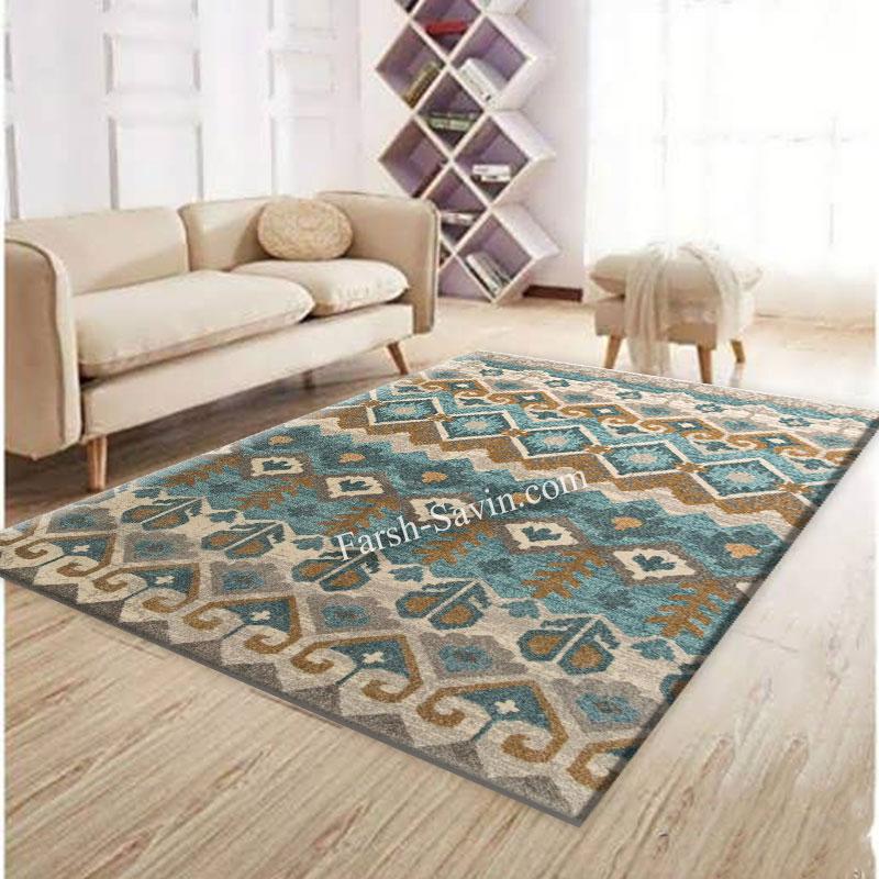 فرش ساوین 4033 کرم فرش مناسب اتاق پذیرایی
