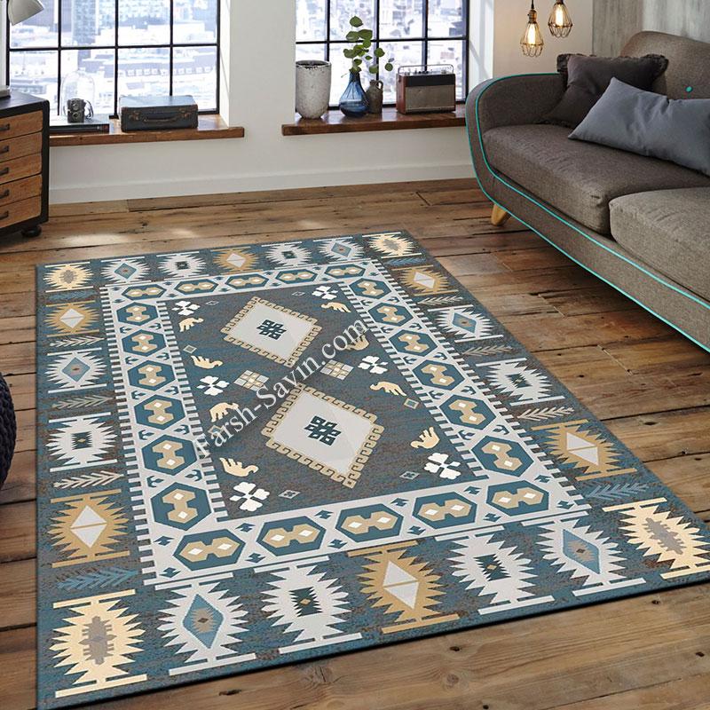 فرش ساوین 4036 آبی فرش فانتزی