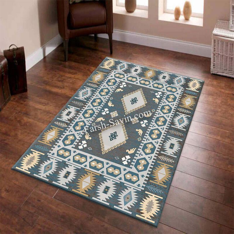 فرش ساوین 4036 آبی فرش با کیفیت