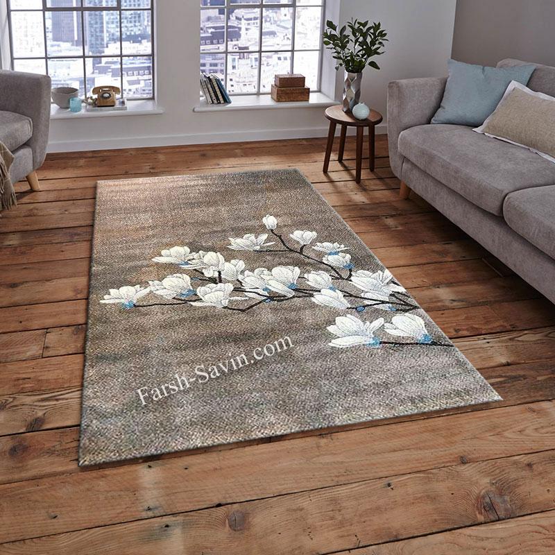 فرش ساوین 4037 شکلاتی فرش مدرن