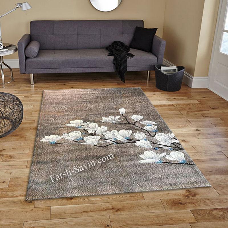 فرش ساوین 4037 شکلاتی فرش اتاق خواب