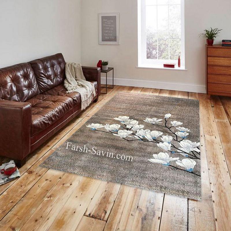 فرش ساوین 4037 شکلاتی فرش با کیفیت