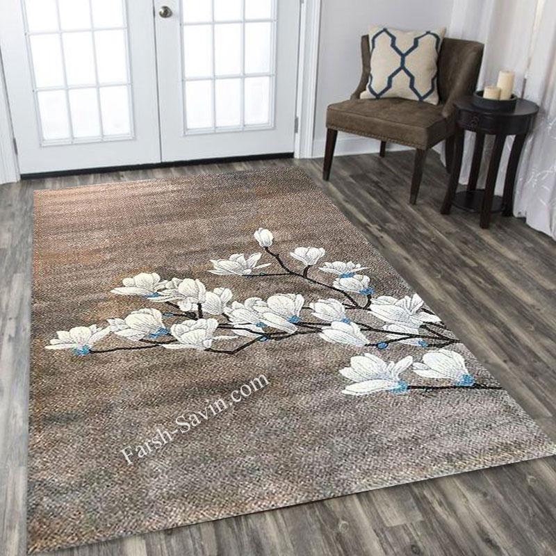 فرش ساوین 4037 شکلاتی فرش ارزان