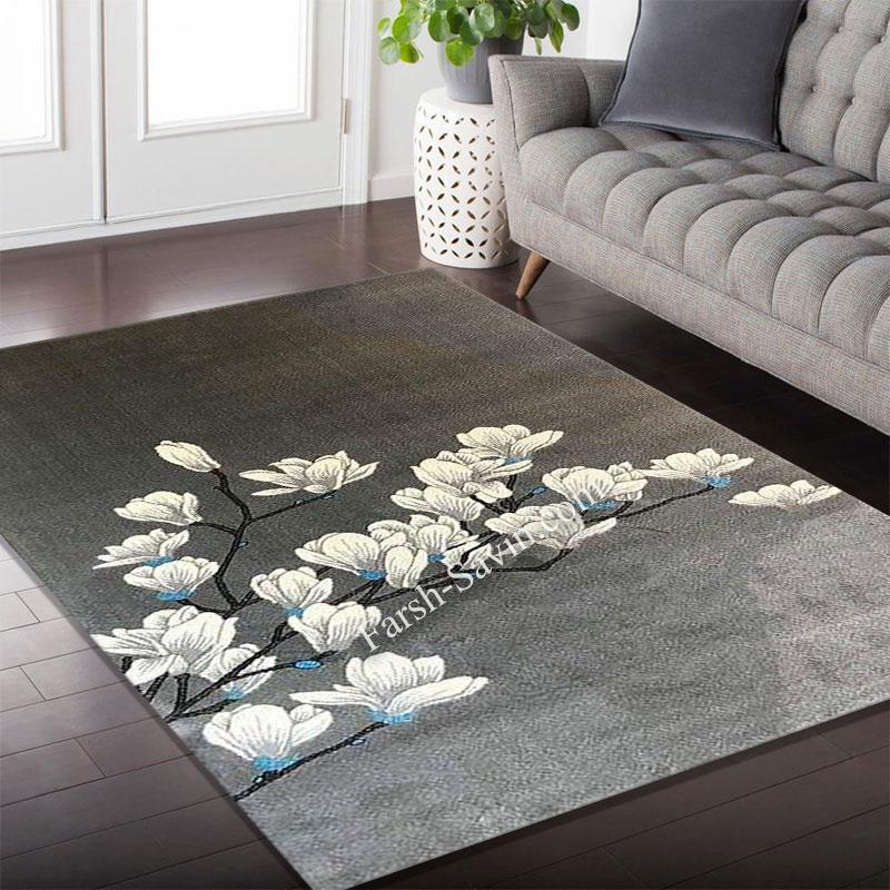 فرش ساوین 4037 نقره ای روشن فرش فانتزی
