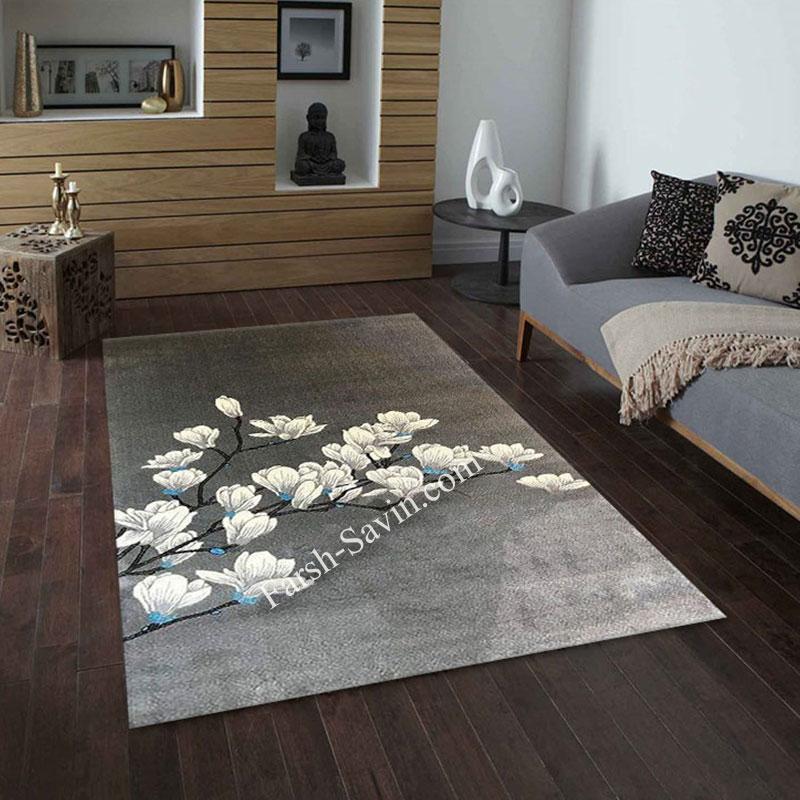 فرش ساوین 4037 نقره ای روشن فرش با دوام