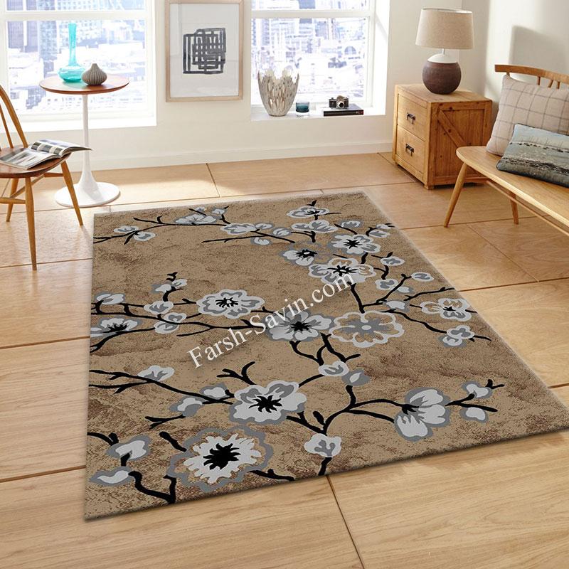 فرش ساوین 4038 شکلاتی فرش با دوام و ارزان