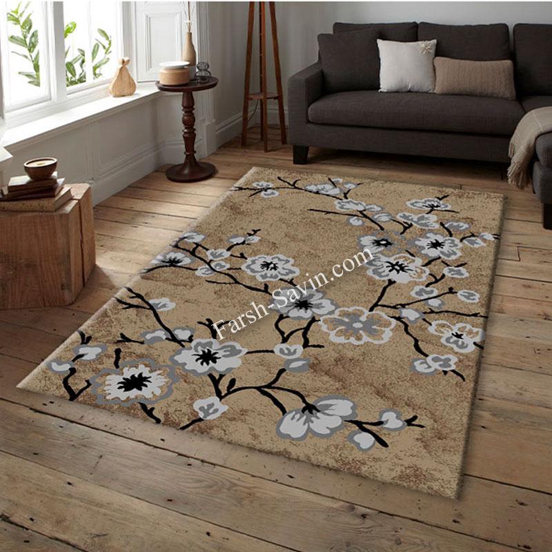 فرش ساوین 4038 شکلاتی فرش اتاق خواب