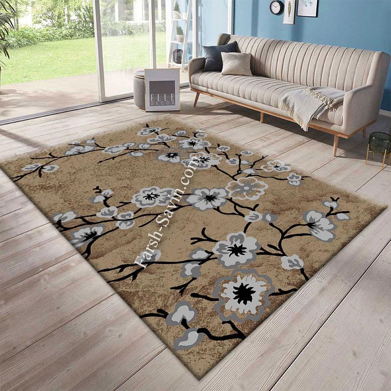 فرش ساوین 4038 شکلاتی فرش ارزان