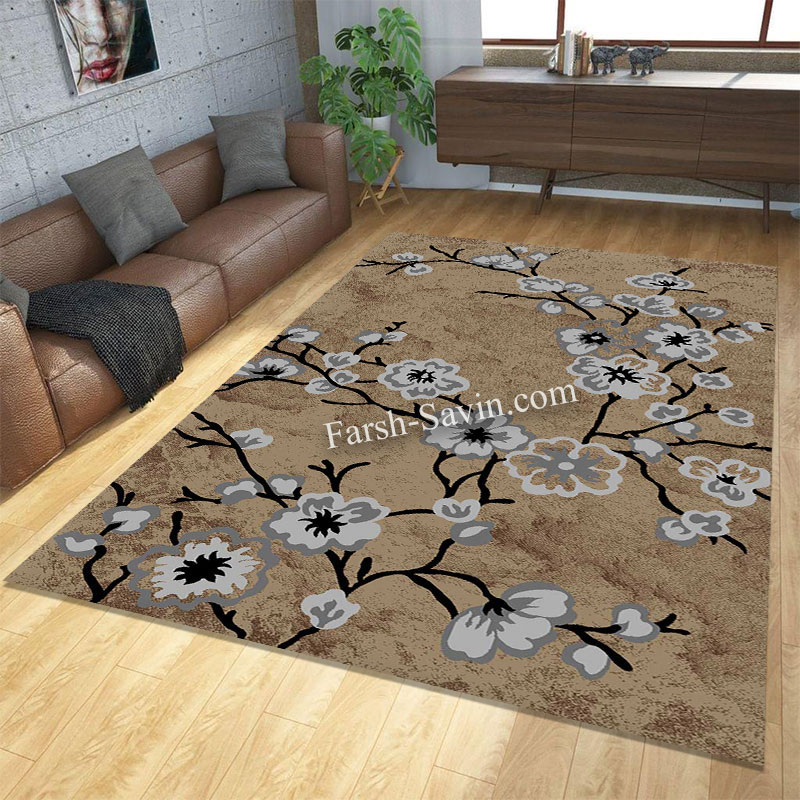 فرش ساوین 4038 شکلاتی فرش آشپزخانه