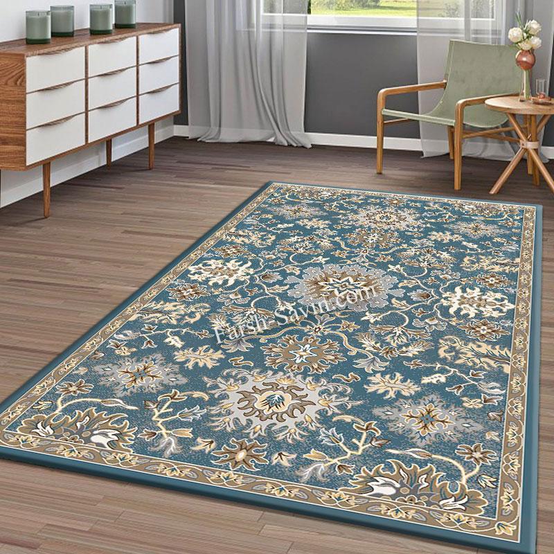 فرش ساوین 4041 آبی فرش شیک