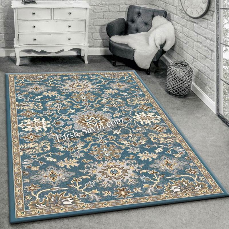 فرش ساوین 4041 آبی فرش اتاق پذیرایی