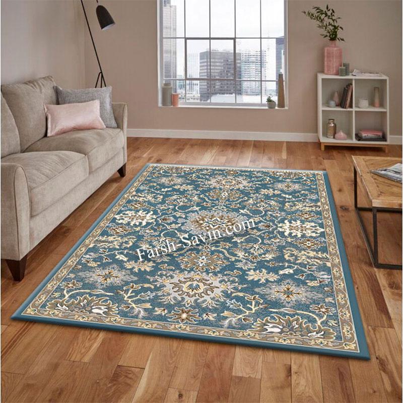 فرش ساوین 4041 آبی فرش مدرن