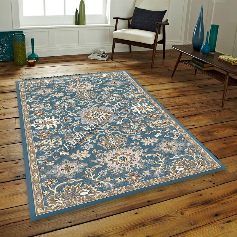 فرش ساوین 4041 آبی فرش اتاق خواب